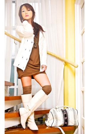 Zara boots - cotton shift Zara dress - knit Mango sweater - studded US bag