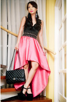 hot pink mullet taffeta Glitterati skirt - black heel-less DAS shoes