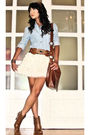 Blue-online-top-brown-glitterati-belt-white-random-skirt-brown-online-boot