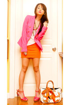 hot pink Zara blazer - orange printed silk Hermes scarf - white murakami Louis V