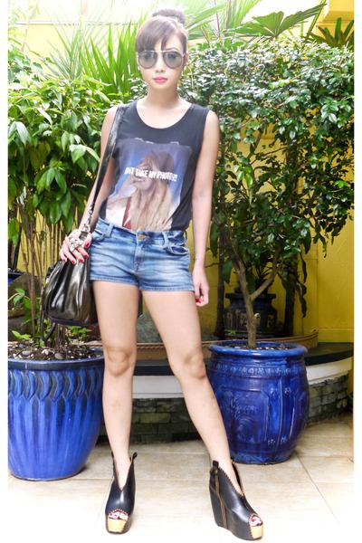 blue shorts Zara shorts - dark gray chain ombre US bag