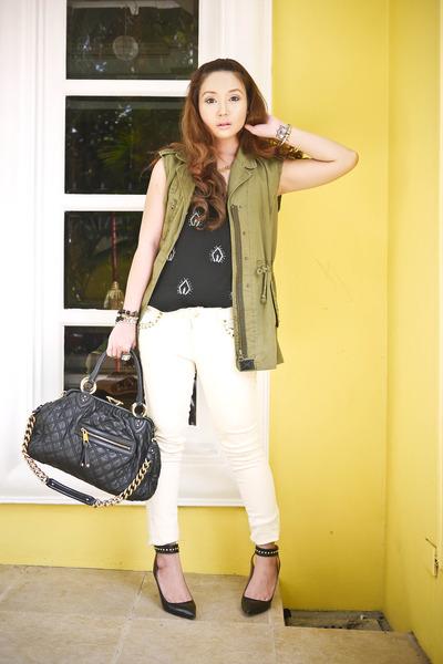 black Zara top - cream Forever 21 jeans - army green Forever 21 vest