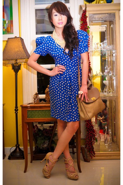 blue Topshop dress - beige Topshop shoes - camel Nina Ricci bag - eggshell Forev