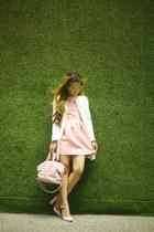 light pink Zara shoes - white Stradivarius coat - light pink Givenchy bag
