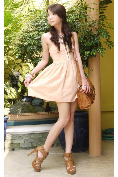 bronze Forever21 necklace - burnt orange strappy heel Zara shoes