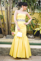 silver Bally purse - yellow Glitterati dress - silver Glitterati belt