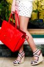 Dark-khaki-so-fab-wedges-red-celine-bag-ivory-fashion-galore-shorts