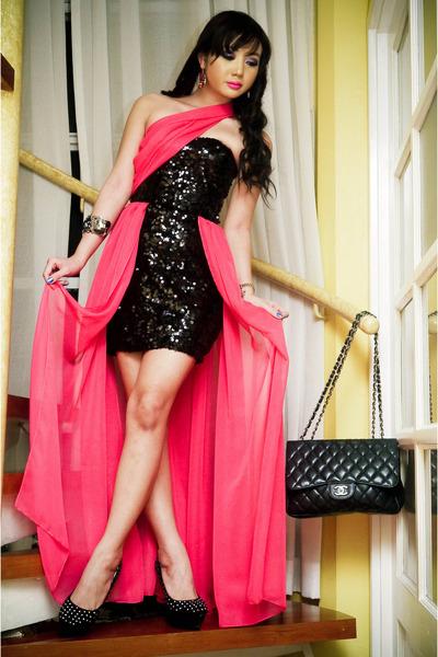 hot pink Glitterati dress - black michael antonio shoes - black Chanel bag