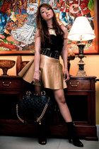 gold frou frou purse - black Miss Sixty boots - black Marc Jacobs bag