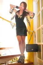 255 Chanel bag - Topshop cape - leather Glitterati skirt - basic tank Topshop to