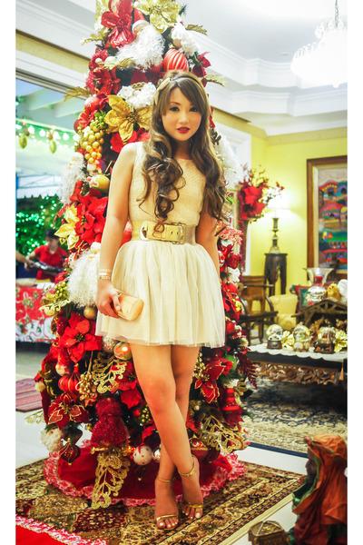 gold Zara shoes - off white romwe dress