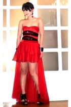 red Glitterati dress - black Topshop shoes - black star drop Bebe earrings