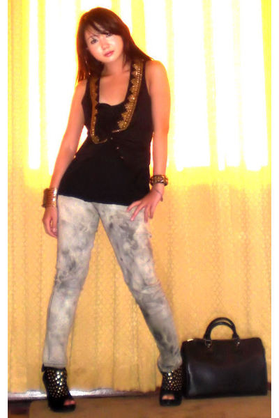 black amiclubwearcom shoes - gray acid wash Style Break jeans