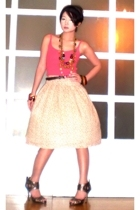 Topshop top - Zara belt - Vintage from my friends mom skirt - forever 21 shoes -