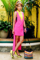 yellow Miss Sixty heels - hot pink Glitterati dress - black tonic bag