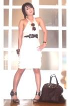 white tank top Zara tights - brown Anthem shoes - brown muse YSL bag