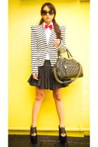 white striped padded Zara blazer - black Soule Phenomenon shoes
