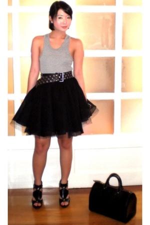 black Zara belt - black Anthem shoes - black Louis Vuitton bag