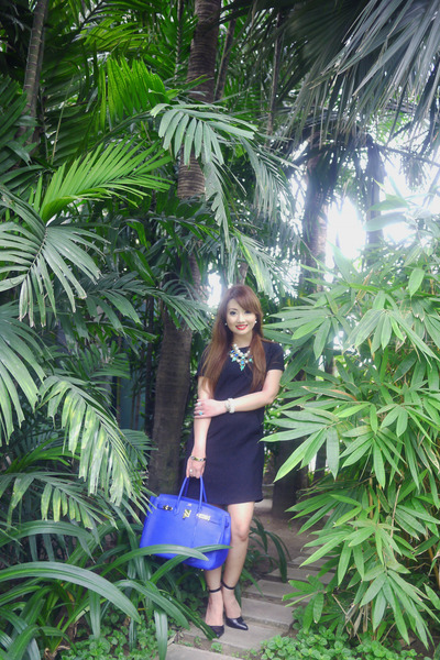 black Bershka dress - blue Hermes bag - black ALTUZARRA heels