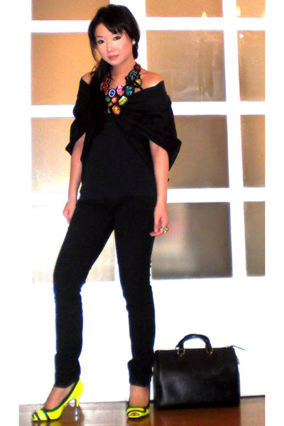 yellow Miss Sixty shoes - black Tyler coat - black skinny trousers Zara pants