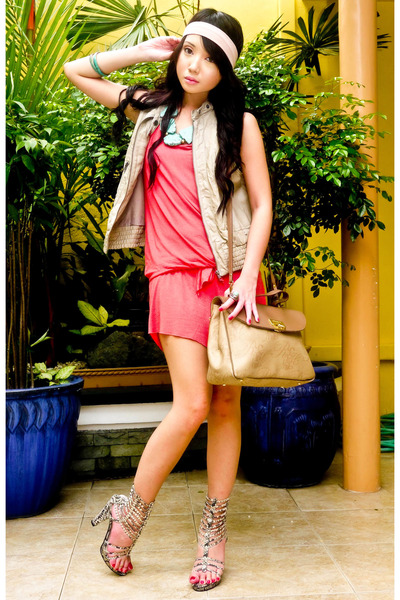 orange random dress - beige Zara vest - beige Nina Ricci purse - beige online sh