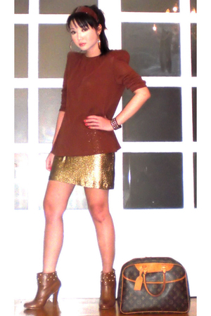 brown Zara blouse - gold Glitterati skirt - brown Louis Vuitton purse - brown on
