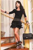 black feather fringe Zara skirt - Glitterati shoes - 255 Chanel bag