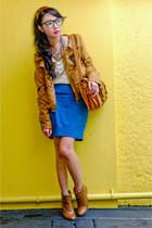 bronze Zara jacket - blue Zara skirt - bronze online boots - eggshell Zara top -