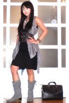 gray random from Hongkong vest - silver H&M necklace - black Zara dress - black