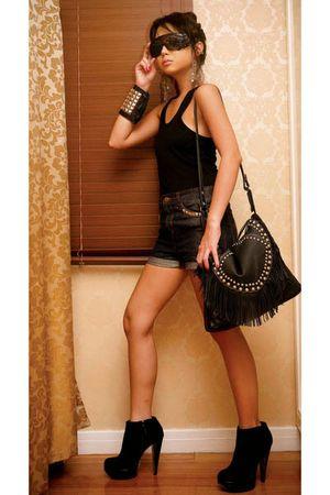 black fringe studded random bag - black suede platform Topshop boots
