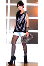 Black-mango-top-blue-mango-shorts-black-topshop-shoes-silver-nine-west-pur
