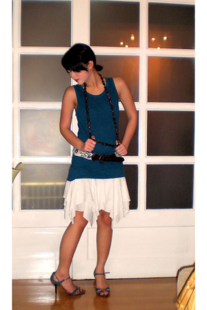 brown Topshop belt - blue Nine West shoes - white ann demeulemeester skirt