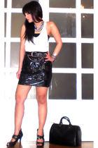 black Glitterati skirt - black Glitterati belt - black bought online shoes - whi
