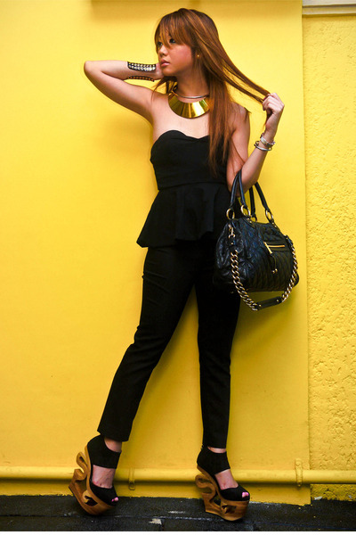 black peplum Zara top