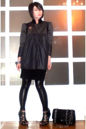 black Forever 21 dress - black Topshop shoes - gray john herrera jacket