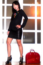 black Zara Basics sweater - black Glitterati skirt - black online shoes - orange