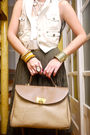 Green-vintage-beige-mango-vest-white-topshop-top-beige-nina-ricci-purse-