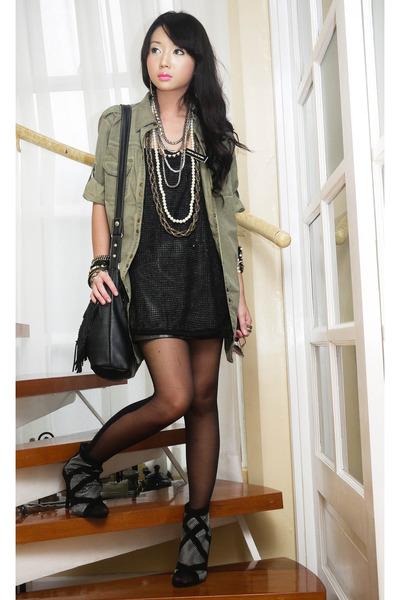 green Zara blouse - black online boots - black Topshop stockings