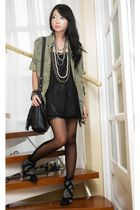 green Zara blouse - black online boots - black Topshop stockings