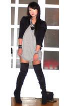 Glitterati blazer - Zara blazer - Topshop top - Mango dress - online boots - Pra