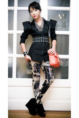 orange chain strap Moonshine bag - black Topshop boots - black online leggings