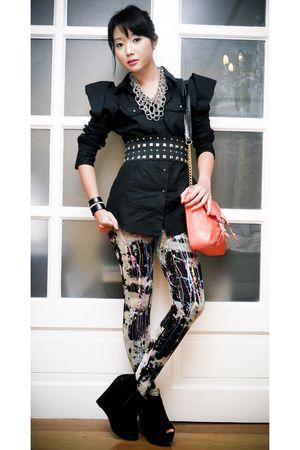 orange chain strap Moonshine bag - black Topshop boots - black online leggings