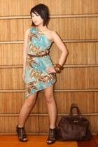 brown Moms Collection belt - brown Anthem shoes - blue Glitterati dress