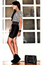 black spandex fringe Topshop skirt - black Topshop boots - black 255 Chanel bag