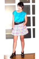 from my mom blouse - Zara belt - Renegade Folk skirt - Mango earrings - Zara sho