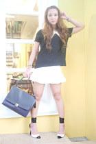white Zara skirt - black Zara shirt - off white Celine bag