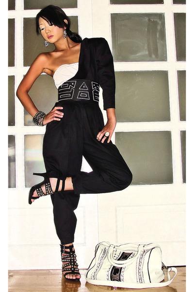 black Glitterati blouse - black Moonshine pants - black Glitterati belt - black