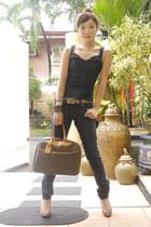 skinny Mango jeans - deuville Louis Vuitton bag - bustier Mango top - leopard pr