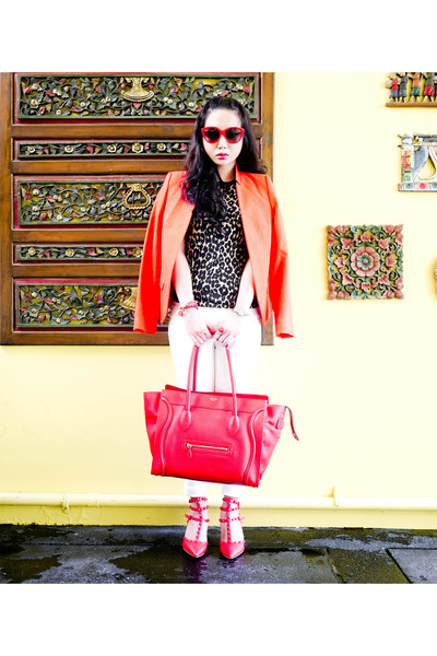 red Celine bag - ivory Zara jeans - carrot orange Zara blazer