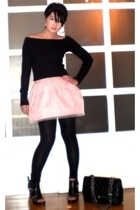 black Zara sweater - black strappy heels Miss Sixty shoes - black Zara leggings